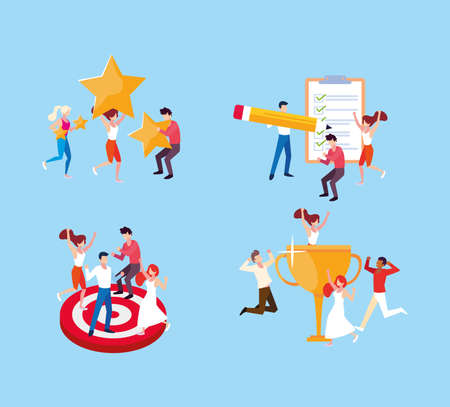 set of icon with people and goals vector illustration design