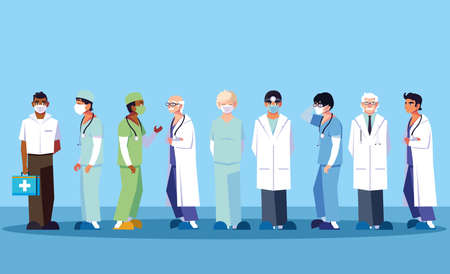 doctors men standing, medical team vector illustration design