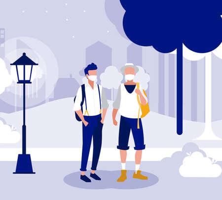 Men with masks outside at park design of Covid 19 virus theme Vector illustration Vettoriali