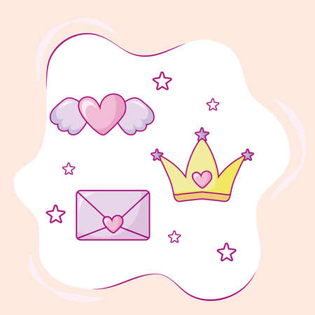 kawaii queen crown, love envelope and heart with wings over pink background, colorful design, vector illustration