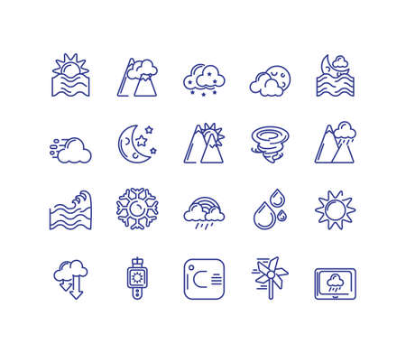 sun and weather concept of icons set over white background, line style, vector illustration