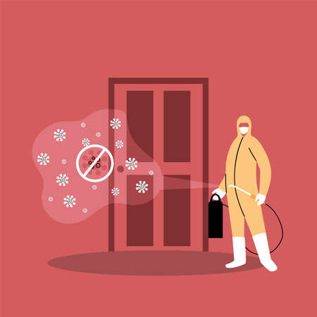 man in suits desinfecting door by covid 19 vector illustration desings