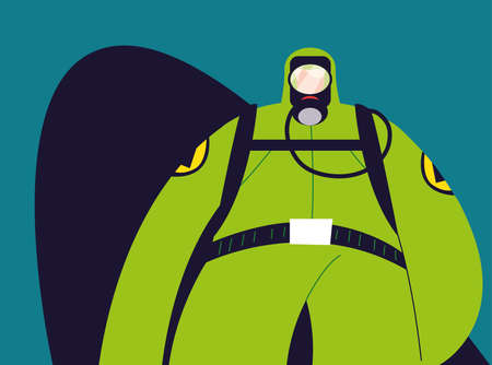 man in protective suit, safety clothing vector illustration design