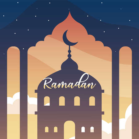 mosque building with label ramadan vector illustration design Vettoriali