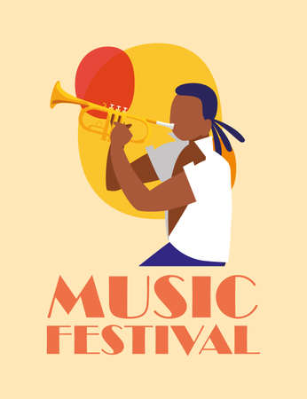 Musician man with trumpet design, Music festival sound melody song musical art and composition theme Vector illustration