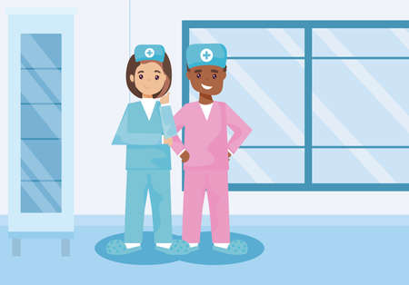 card with man and woman nurses vector illustration design