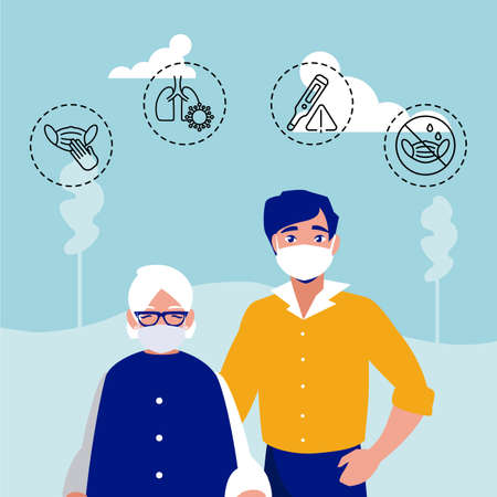 man and old woman with icons of coronavirus symptoms vector illustration design