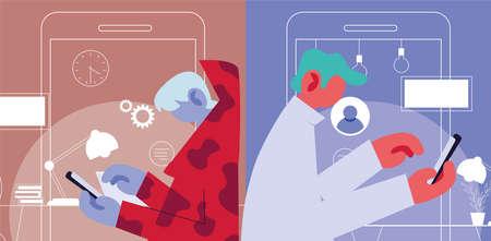 men working online at home vector illustration design