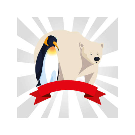 penguin and polar bear greeting card vector illustration design