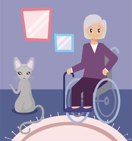 elderly woman in the living room with a cat vector illustration design