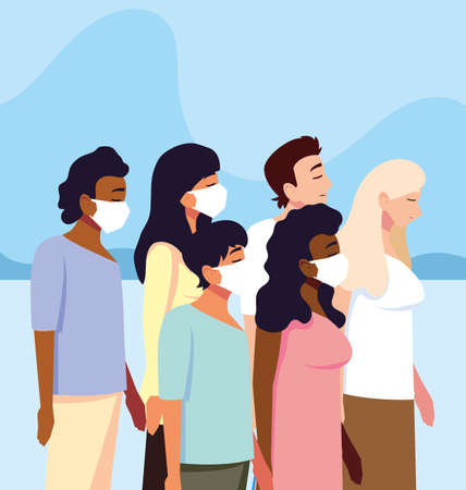 people with medical face mask, coronavirus prevention vector illustration design