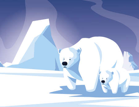 polar bear with cub at the winter landscape, mother and child vector illustration design