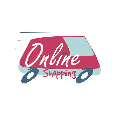 online shopping, lettering about online shopping vector illustration design