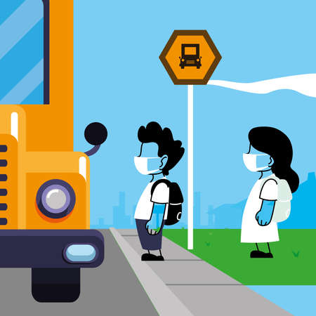 Children with masks on the school bus vector illustration design