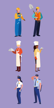set of professions people with uniform of work vector illustration design Ilustração