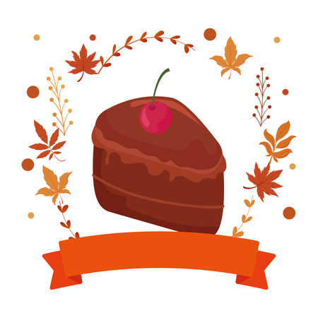 Sweet cake and autumn leaves design, dessert food delicious sugar snack and tasty theme Vector illustration