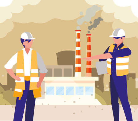 men engineers standing the factory, team work vector illustration design