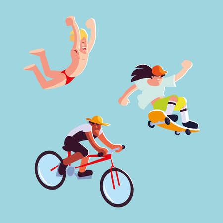 set of icons with people in sports activities vector illustration design