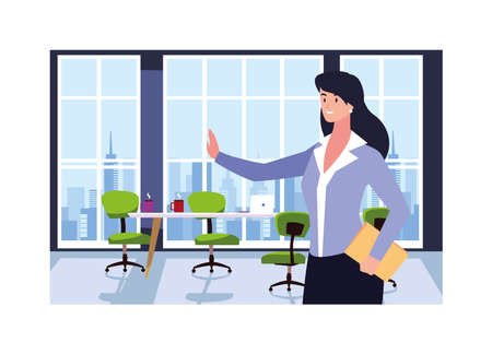 businesswoman in the work office vector illustration design Stock Illustratie