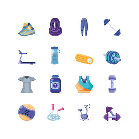 set of icons fitness on white background vector illustration design Ilustrace