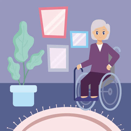elderly care, old woman in a wheelchair vector illustration design