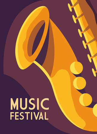 poster music festival with musical instrument vector illustration design Ilustração