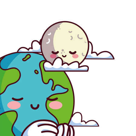 moon and earth happy and accompanied vector illustration desings