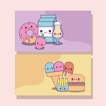 food labels cards design, Kawaii food cute character emoticon theme Vector illustration