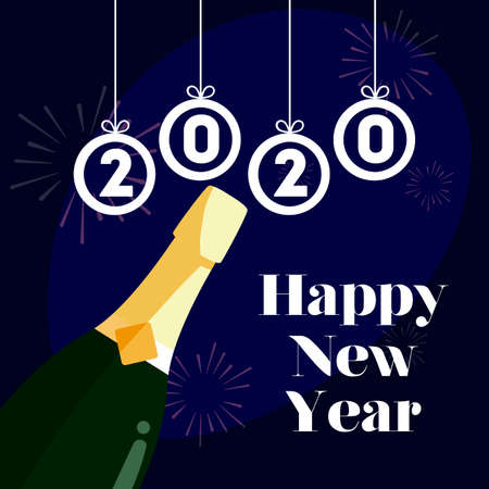 Happy new year 2020 and bottle design, Welcome celebrate greeting card happy decorative and celebration theme Vector illustration