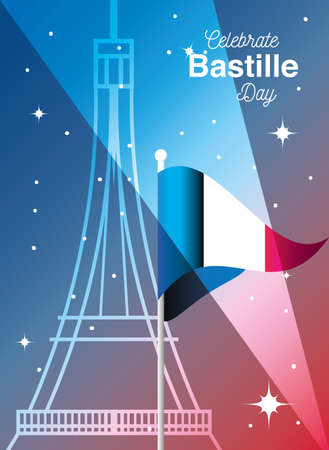 banner or poster for the French national day, label celebrate bastille day vector illustration design