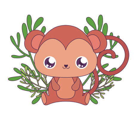 monkey cartoon with leaves design, Kawaii expression cute character funny and emoticon theme Vector illustration  イラスト・ベクター素材