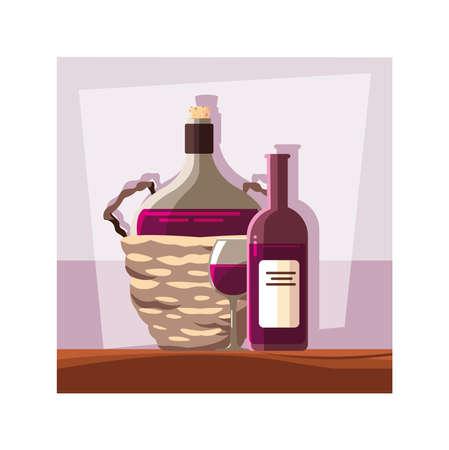 bottle of wine in wicker basket on table vector illustration design