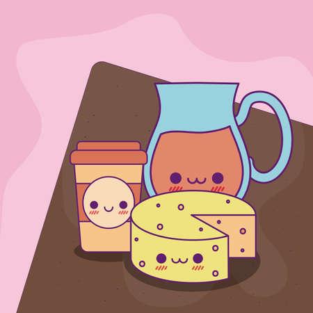 juice jar coffee mug and cheese design, Kawaii food cute character emoticon theme Vector illustration