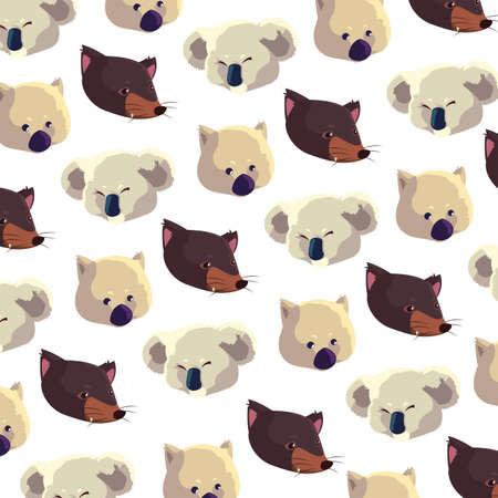 pattern with heads animals australians on white background vector illustration design