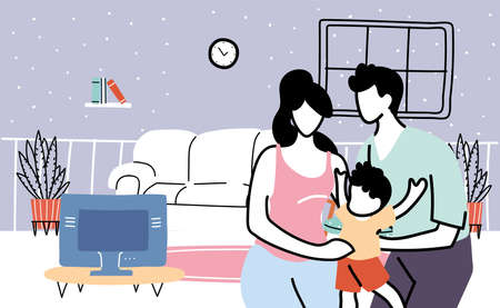 parents and son stay at home by coronavirus pandemic, banner vector illustration design