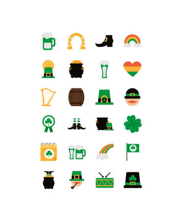 set of icons st patrick day, flat style icon vector illustration design
