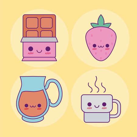 chocolate strawberry juice jar and coffee mug design, Kawaii food cute character emoticon theme Vector illustration  イラスト・ベクター素材
