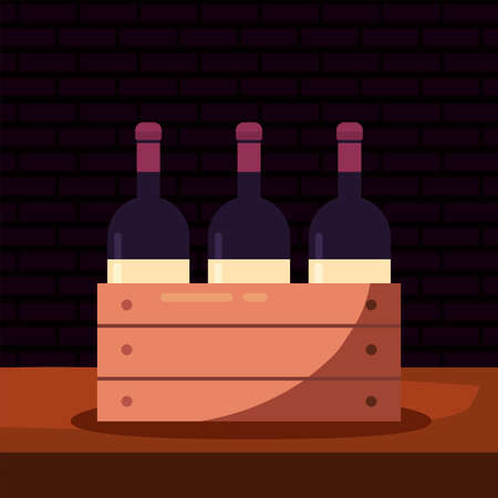Wine bottles inside box design, Winery alcohol drink beverage restaurant and celebration theme Vector illustration