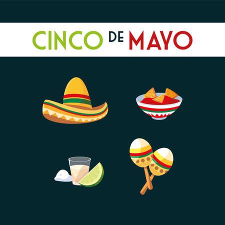 card cinco de mayo with symbol mexican vector illustration design 일러스트