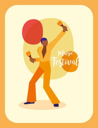Musician man with maracas design, Music festival sound melody song musical art and composition theme Vector illustration Illusztráció