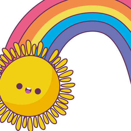 sun and rainbow cartoon design, Kawaii expression cute character funny and emoticon theme Vector illustration