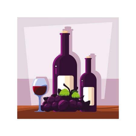bottle and glass of wine with grapes vector illustration design Ilustração