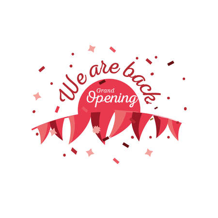 we are back grand opening detailed style icon design of Store shop supermarket and market theme Vector illustration