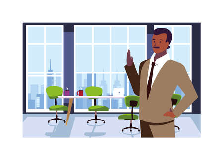 businessman in the work office vector illustration design