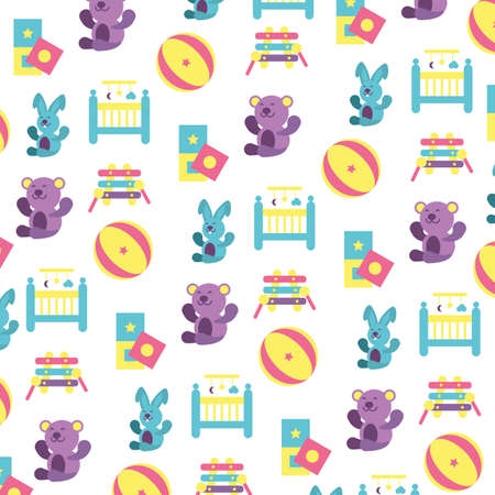 pattern of toys for small children on white background vector illustration design