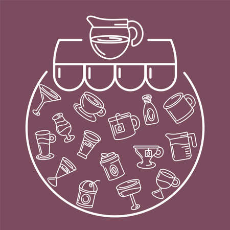 coffee pot with drinks and beverages over purple background, line style, vector illustration