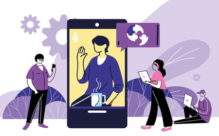 people working with video call device vector illustration desing