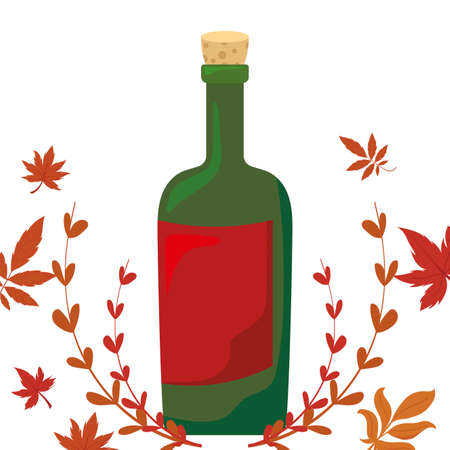 Wine bottle and autumn leaves design, Winery alcohol drink beverage restaurant and celebration theme Vector illustration  イラスト・ベクター素材