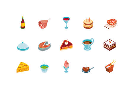 Icon set design, Eat food restaurant menu dinner lunch cooking and meal theme Vector illustration