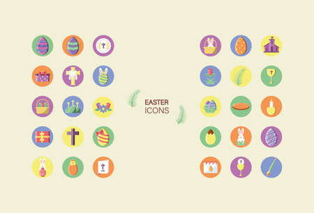 happy easters concept of icons set over havana color background, block style icon, vector illustration Illustration